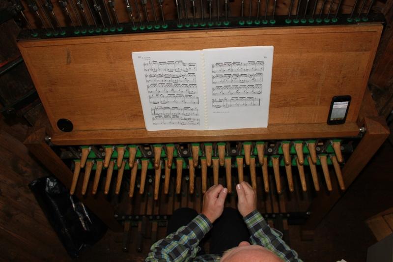 Het klavier van het carillon van Hattem